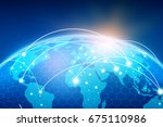 global network and data... | Shutterstock . vector #675110986