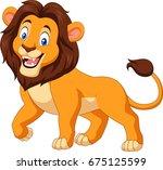 cartoon happy lion isolated on... | Shutterstock . vector #675125599