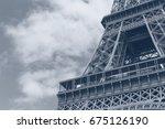 close up of eiffel tower... | Shutterstock . vector #675126190