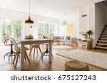 wooden white dining table in... | Shutterstock . vector #675127243