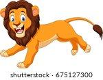 cartoon happy lion running | Shutterstock . vector #675127300