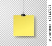 post note with clip isolated on ... | Shutterstock .eps vector #675127378