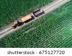 top view of tractor with two... | Shutterstock . vector #675127720