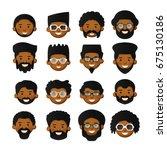 vector african men head avatar... | Shutterstock .eps vector #675130186