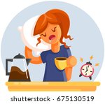 cartoon tired sleepy yawning... | Shutterstock .eps vector #675130519