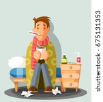 young man having a cold ... | Shutterstock .eps vector #675131353