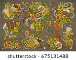 colorful vector hand drawn... | Shutterstock .eps vector #675131488