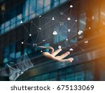 view of a business network...   Shutterstock . vector #675133069