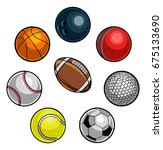 a set of cartoon sports balls... | Shutterstock .eps vector #675133690