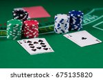 black jack casino table with... | Shutterstock . vector #675135820