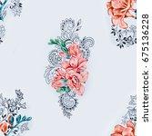 seamless pattern of orange... | Shutterstock . vector #675136228