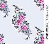 seamless pattern of a branch of ... | Shutterstock . vector #675136414