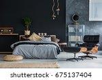 wicker accessories in black and ... | Shutterstock . vector #675137404