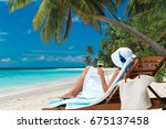 woman relax drinking wine on... | Shutterstock . vector #675137458