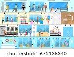 fitness center interior. | Shutterstock . vector #675138340