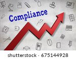 close up of compliance text ... | Shutterstock . vector #675144928