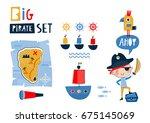 big pirate set  cute templates... | Shutterstock .eps vector #675145069