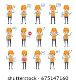set of construction worker...   Shutterstock .eps vector #675147160