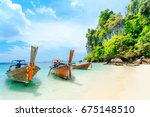 longtale boat on the white... | Shutterstock . vector #675148510