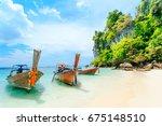 longtale boat on the white... | Shutterstock . vector #675148510
