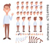 Flat Vector Guy character for your scenes. Character creation set with various views, face emotions, lip sync and poses. Parts of body template for design work and animation. | Shutterstock vector #675149998