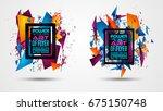 futuristic frame art design... | Shutterstock .eps vector #675150748
