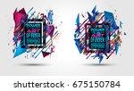 futuristic frame art design... | Shutterstock .eps vector #675150784