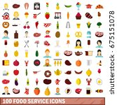100 food service icons set in... | Shutterstock .eps vector #675151078
