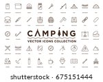 camping  vacation and travel... | Shutterstock .eps vector #675151444