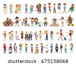 set of happy family  people ... | Shutterstock .eps vector #675158068