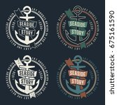 set of marine retro emblems... | Shutterstock .eps vector #675161590