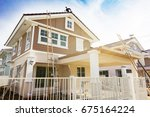 exterior view of new house... | Shutterstock . vector #675164224