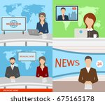 breaking news tv  speakers ... | Shutterstock .eps vector #675165178