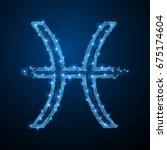 abstract polygonal light symbol ... | Shutterstock . vector #675174604