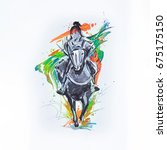 sketch of the japanese rider on ... | Shutterstock . vector #675175150