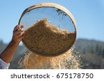 old sieve for sifting flour and ...   Shutterstock . vector #675178750