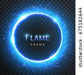 Realistic Round Blue Flame...