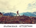 hiking man in canadian... | Shutterstock . vector #675187444