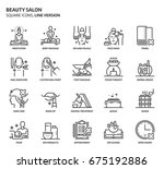 beauty salon  square icon set.... | Shutterstock .eps vector #675192886