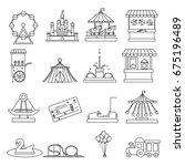 amusement park lineart elements ... | Shutterstock .eps vector #675196489