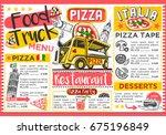 food truck festival menu... | Shutterstock . vector #675196849