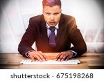 portrait of businessman typing... | Shutterstock . vector #675198268