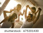family spending free time at... | Shutterstock . vector #675201430
