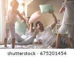 family having funny pillow... | Shutterstock . vector #675201454