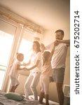 family spending free time at... | Shutterstock . vector #675202714
