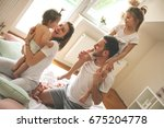family spending free time at... | Shutterstock . vector #675204778
