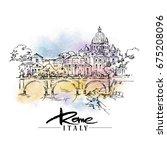 illustration of rome made in... | Shutterstock .eps vector #675208096