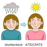 depressed woman becoming happy...   Shutterstock .eps vector #675215473