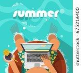man relaxing on the swim ring... | Shutterstock .eps vector #675216400