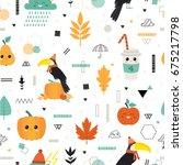 cute vector seamless pattern... | Shutterstock .eps vector #675217798